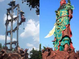 patung dewa cina roboh